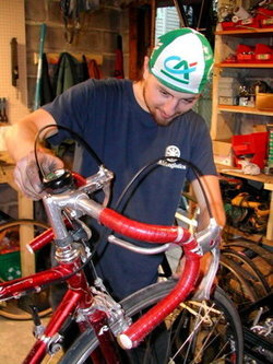 Jeff working at the Mile-End Bicycle Garage