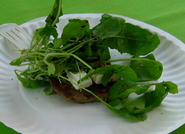 Eggplant Pancake with Goat's Milk Cheese with Arugula