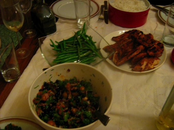 Cajun Chicken with Cherry Tomato and Blueberry Salsa, basmatic rice, and green beans