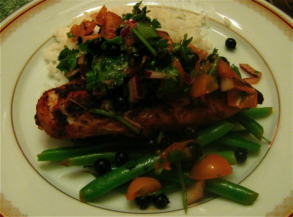 Cajun Chicken with Blueberry Cherry Tomato Salsa, Basmati Rice, and Green Beans