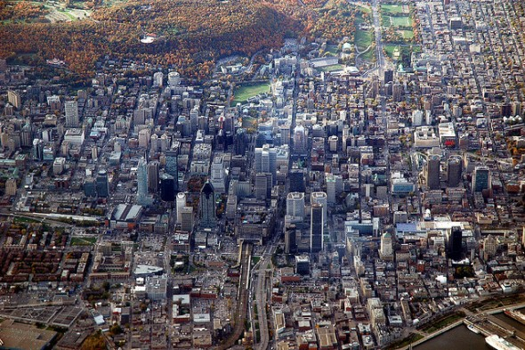 Montreal aerial downtown Alouettes