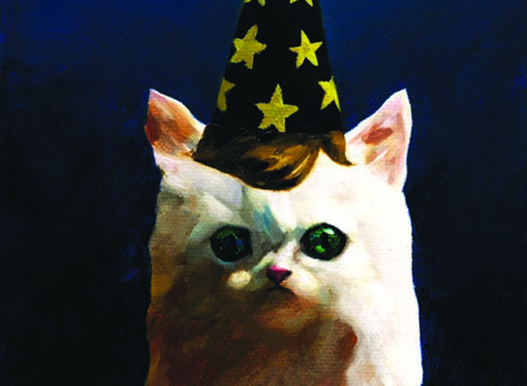 painting of cat in party hat