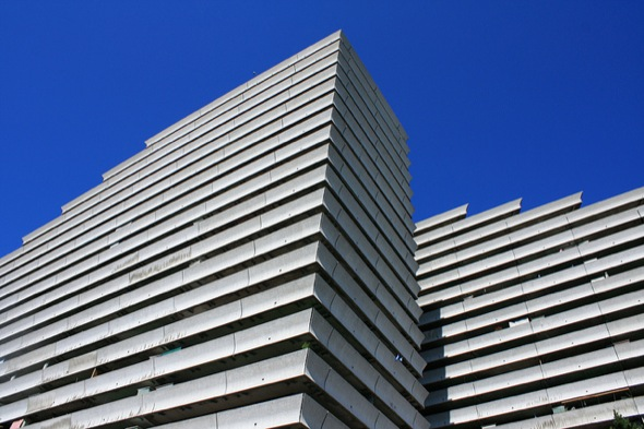 building,pyramid,white,tall,layers,sky