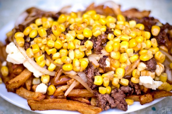 poutine,corn,bacon,steak,special,onions,cheese