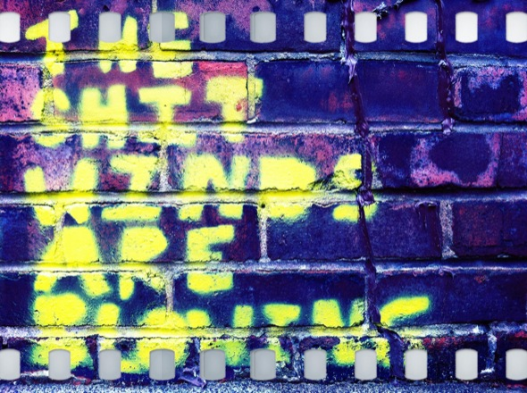 wall,graffiti,film,yellow,blue,montreal