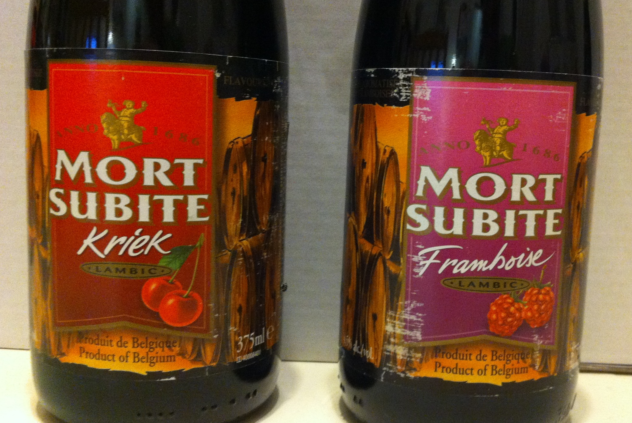 2491fc070f Next up were the Mort Subite Lambics. We tried both the Kriek (sour cherry)  and Framboise (raspberry) flavours. To be labeled a Lambic, a beer must be  all ...